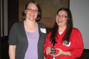 2009 Innovator Award Winner Dr. Tijana Rajh (right) and AWIS Chicago Chapter President Sandra Pearce (left)